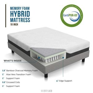 LUCID 10 Inch Queen Hybrid Mattress-1