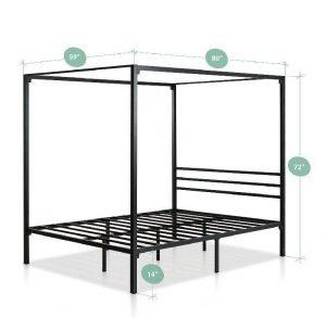 Zinus Metal Framed Canopy Four Poster Platform Bed Frame 5 300x293 image
